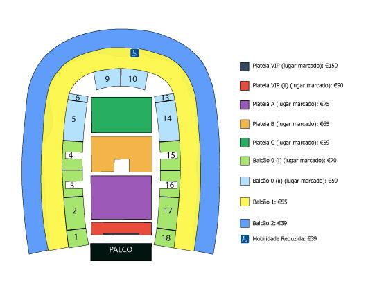 Plano del MEO Arena- Concierto de John Legend