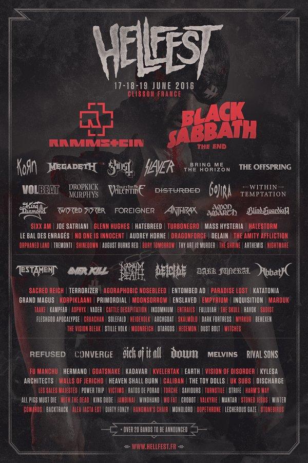 Hellfest 2016 cartel line up
