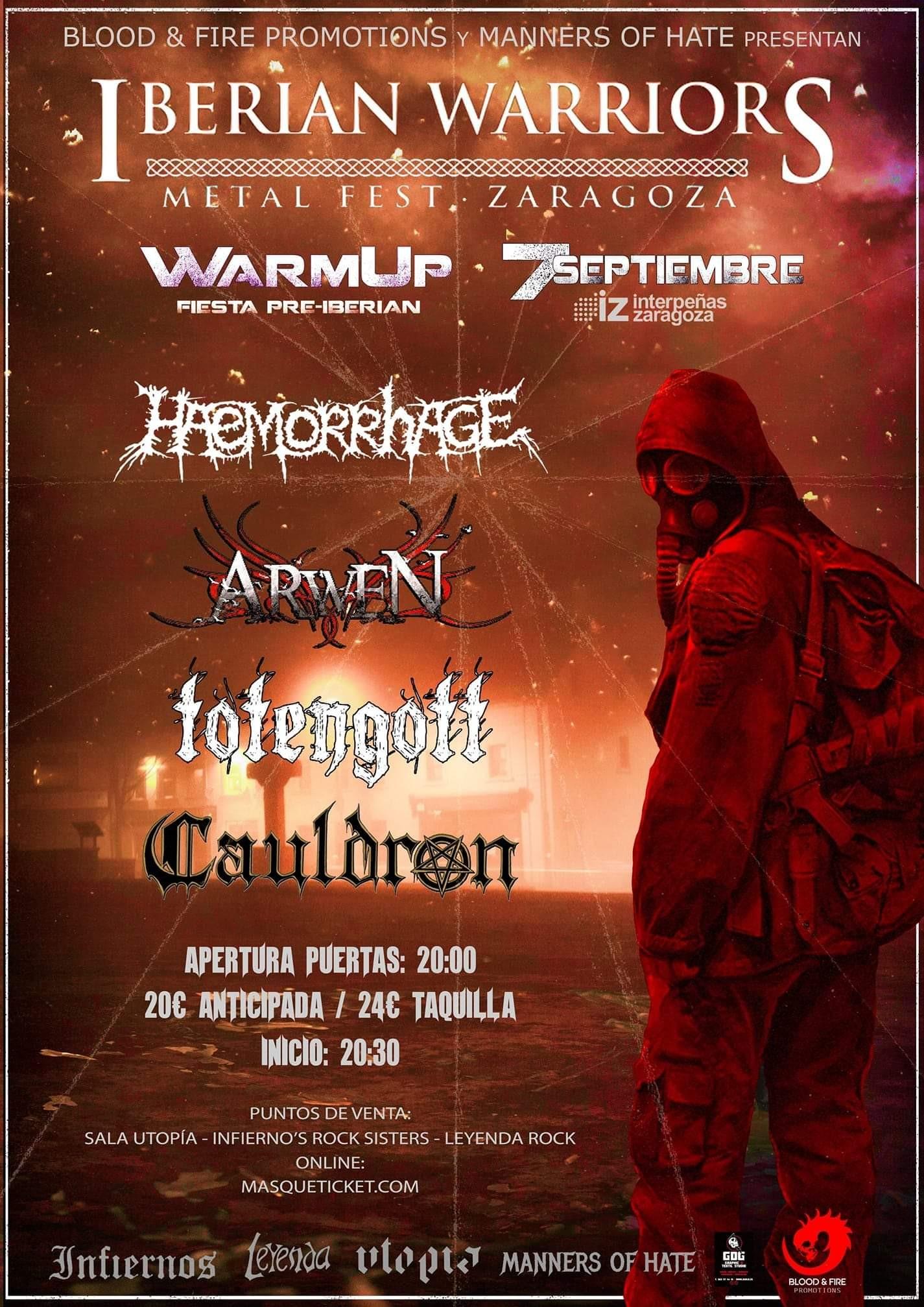WARM UP IBERIAN FEST 2019: Haemorrhage, Kawir, Totengott, Arwen, Cauldron