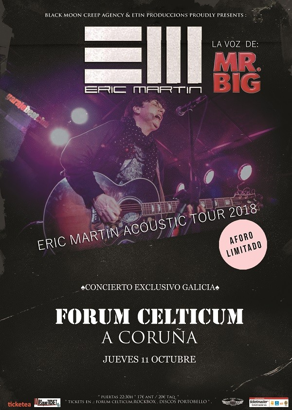 ERIC MARTIN (voz de MR. BIG) - Acoustic Tour 2018